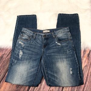 Free People   Distressed Blue Straight Jeans Sz 26